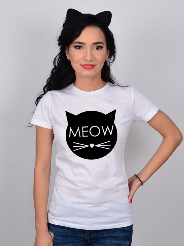 Tricou MEOW Alb