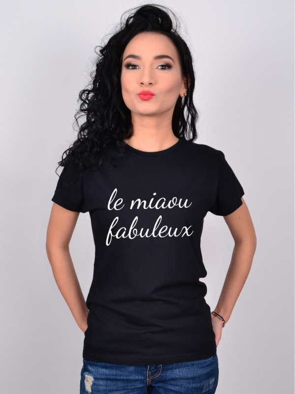 Tricou Dama Le Miaou Fabuleux Negru MEOW