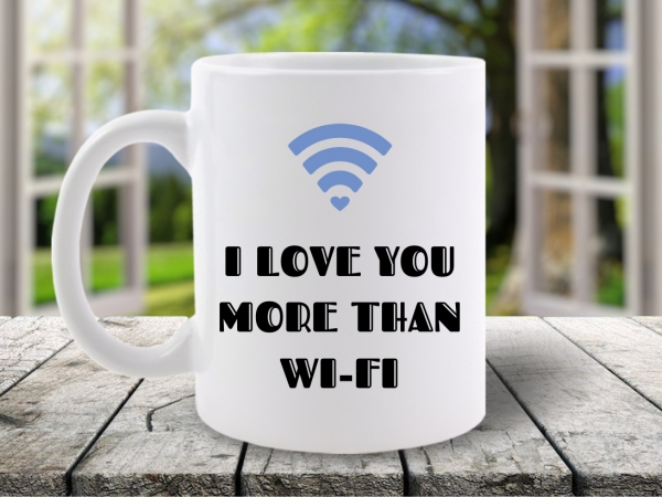 Cana Mesaj I Love You More Than WI-FI Bleu