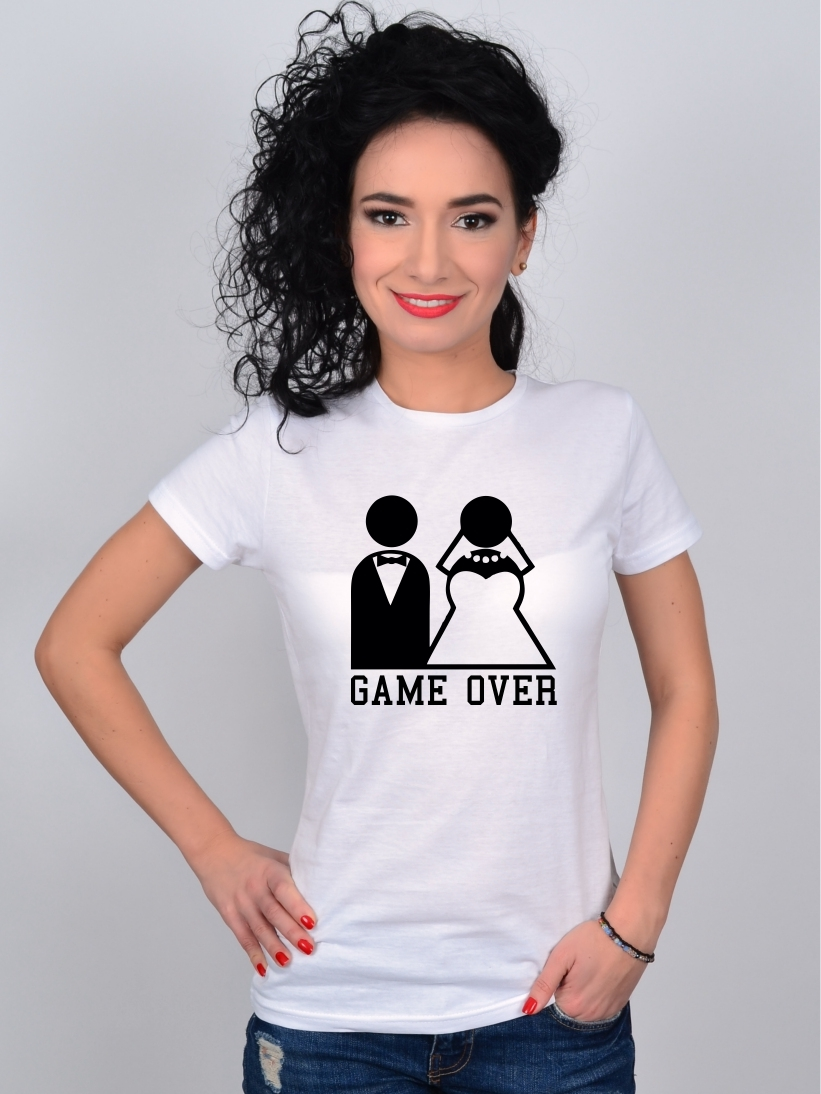 Tricou Alb Mire si Mireasa GAME OVER