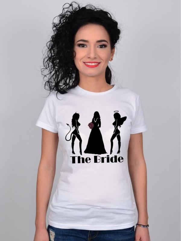 Tricou Burlacite Alb The Bride, Devil & Angel Friends