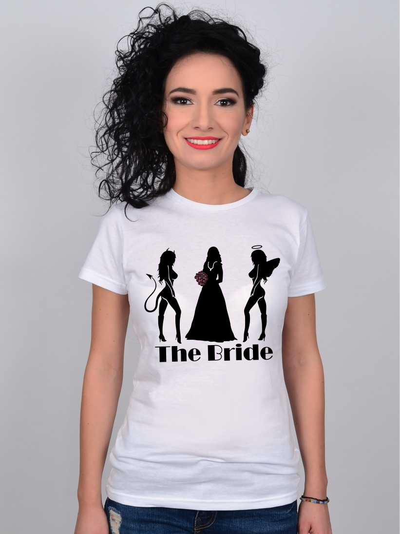 Tricou Burlacite Alb The Bride, Devil & Angel Friends