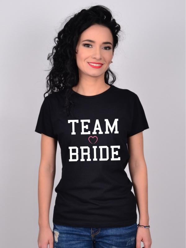 Tricou Petrecerea Burlacitelor Negru Team Bride