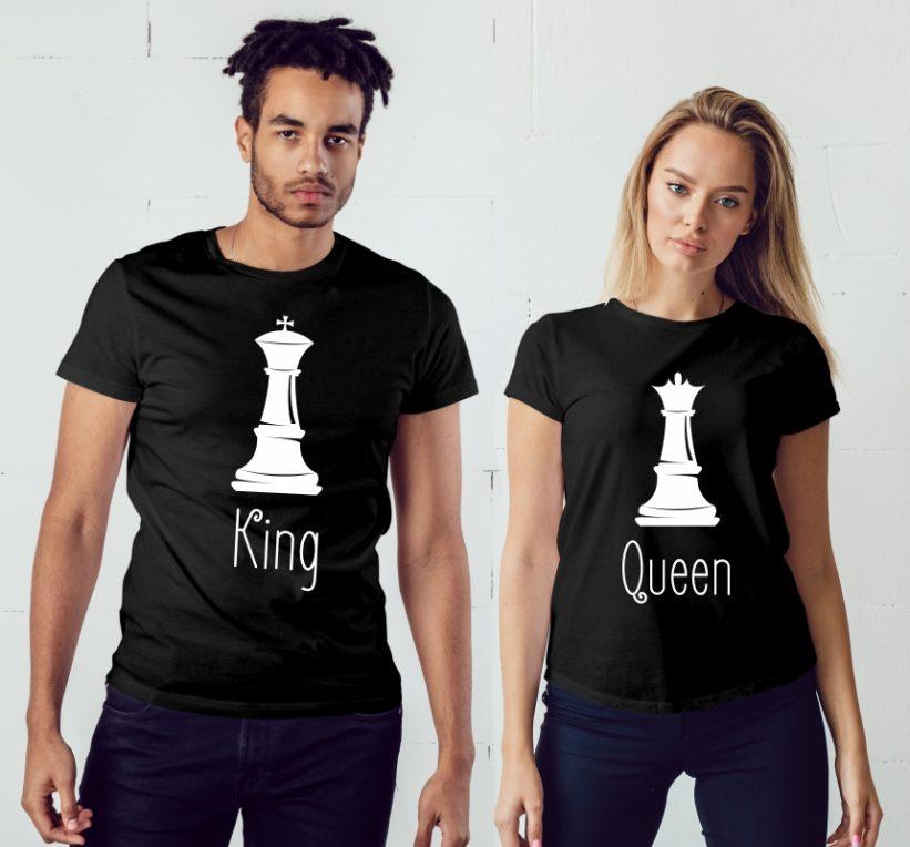 Tricouri Cuplu King & Queen Negru