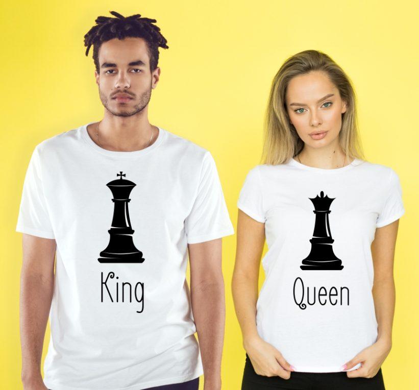 Tricouri Cuplu King & Queen Alb