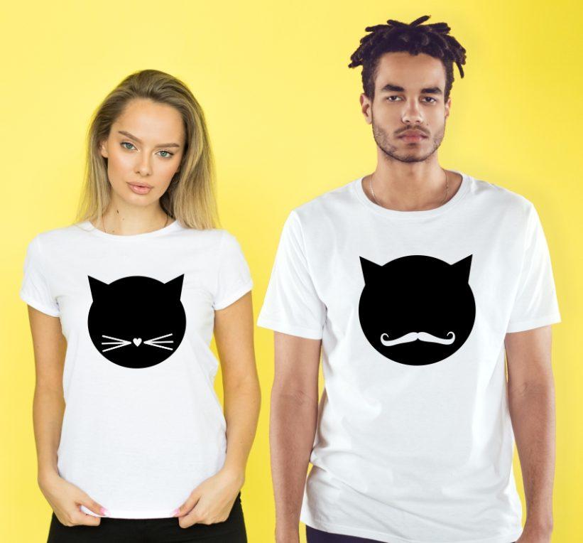 Tricouri Cuplu Meow Alb