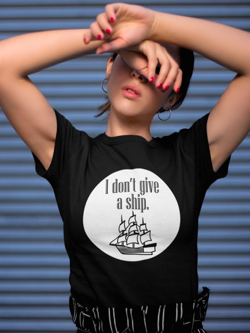 Tricou Negru I Don't Give a Ship