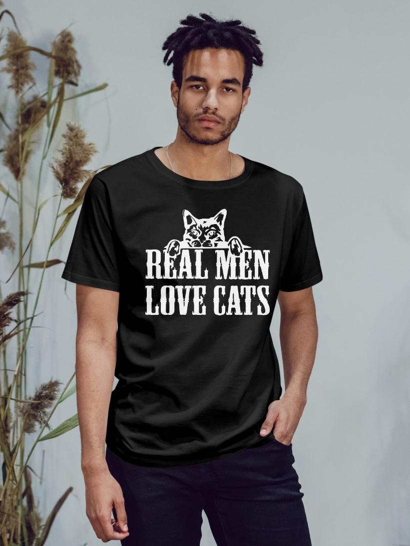 Tricou Barbati Negru Real Men Love Cats