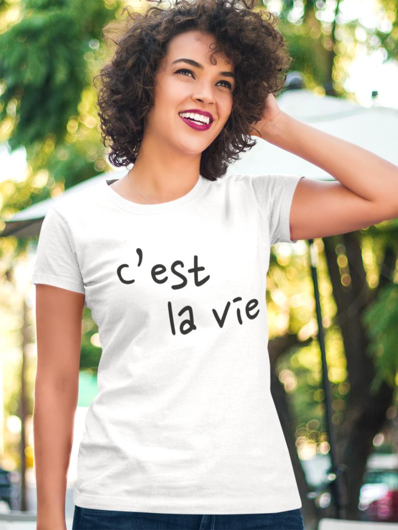 Tricou Alb C'est la Vie