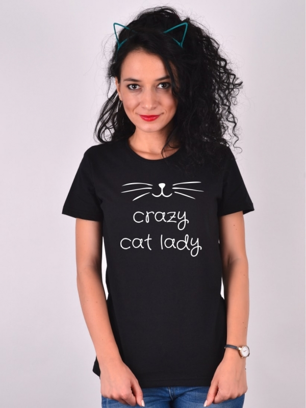 TRICOU CRAZY CAT LADY NEGRU