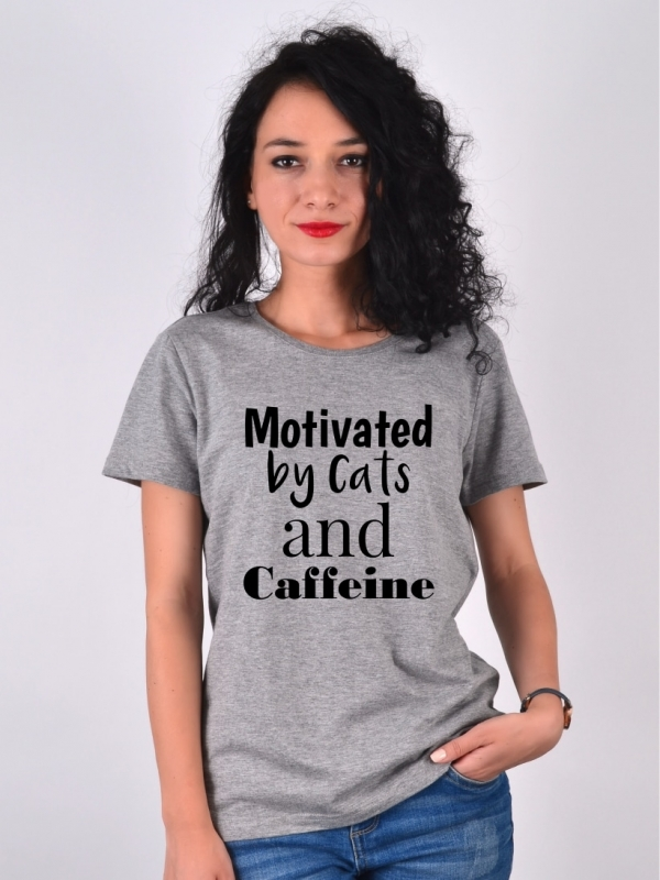 Tricou Gri Motivated by Cats and Caffeine