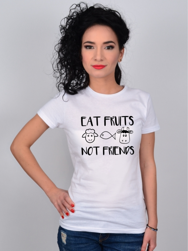 Tricou Alb Eat Fruits, Not Friends