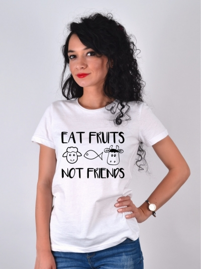 TRICOU ALB EAT FRUITS NOT FRIENDS