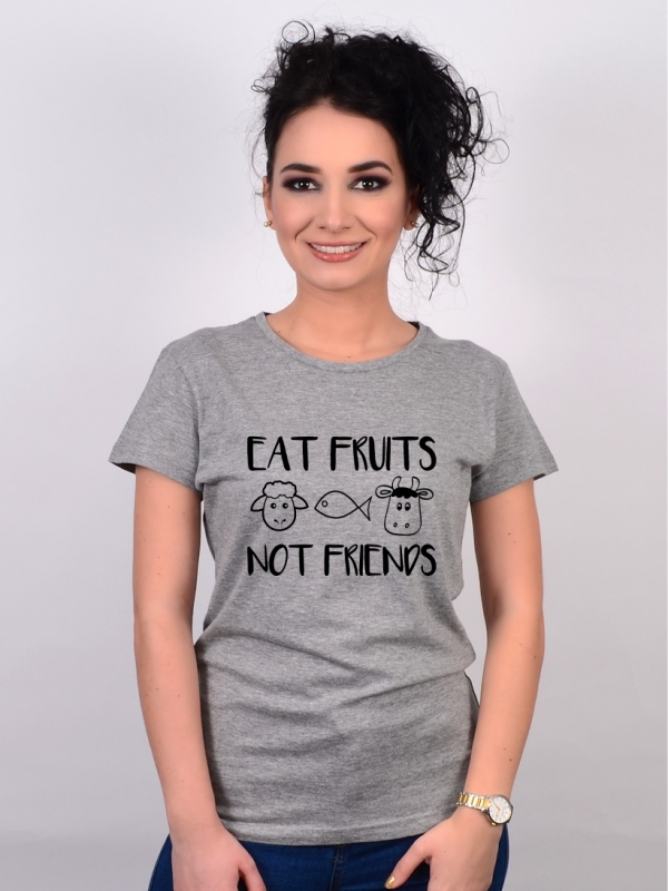 Tricou Gri Eat Fruits, Not Friends