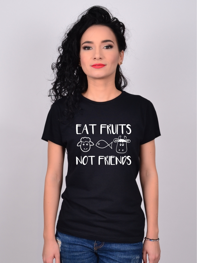 Tricou Negru Eat Fruits, Not Friends