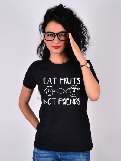 TRICOU NEGRU EAT FRUITS NOT FRIENDS