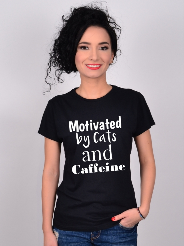 Tricou Negru Motivated by Cats and Caffeine