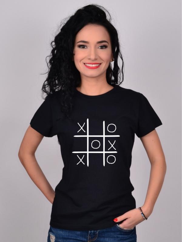 Tricou Negru cu Imprimeu X si 0