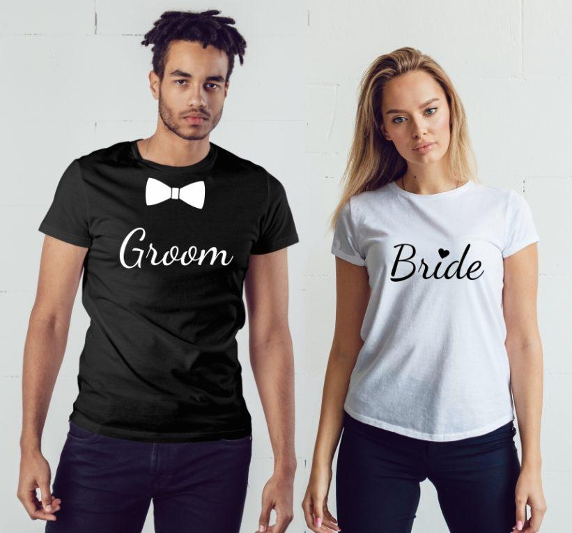 Tricouri Cuplu Groom&Bride Negru/Alb