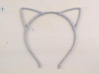 Bentita Urechi de Pisica Argintie Glitter