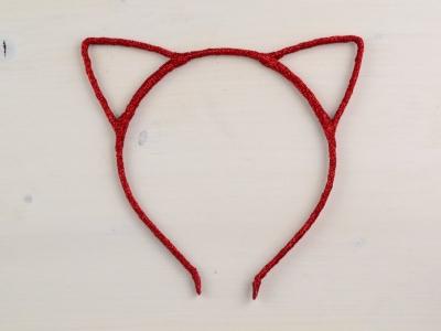 Bentita Urechi de Pisica Rosie cu Sclipici