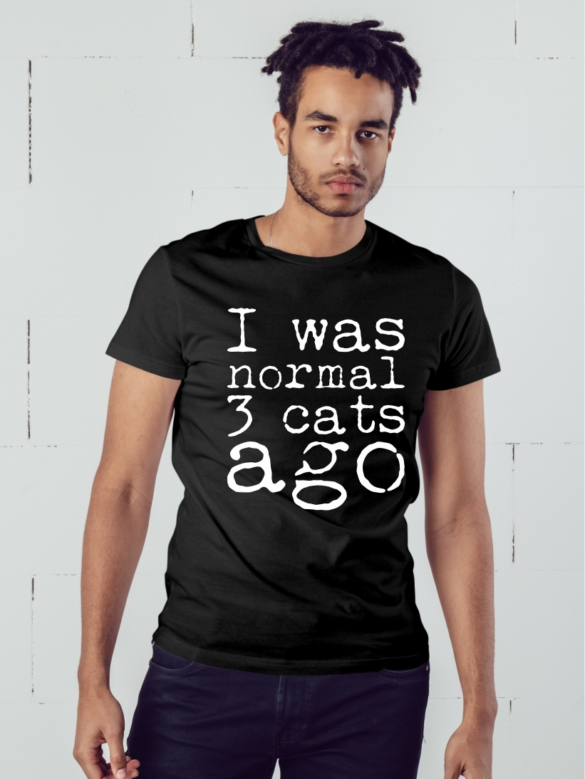 Tricou Barbati Negru I Was Normal 3 Cats Ago