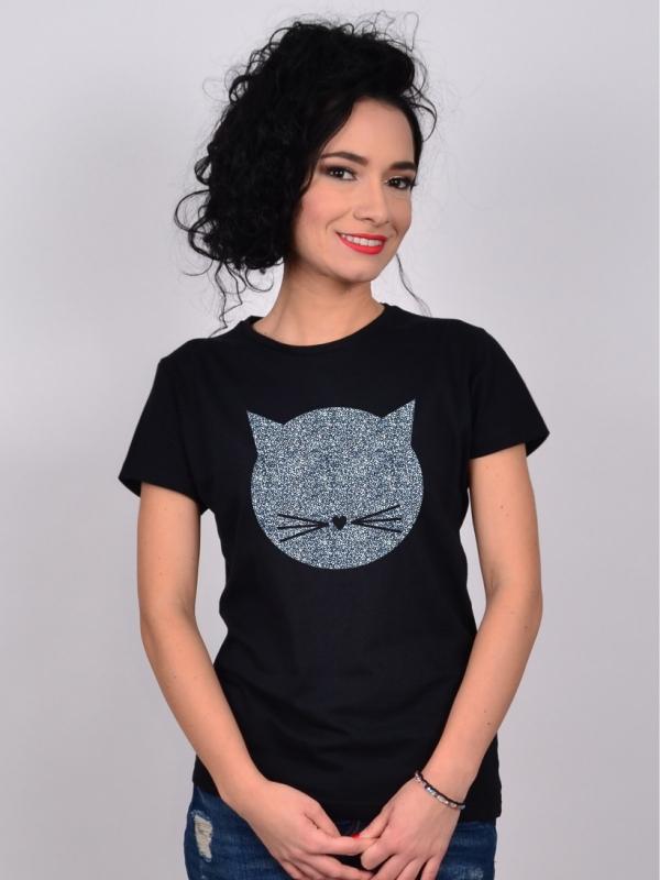 Tricou Pisica Glitter Negru