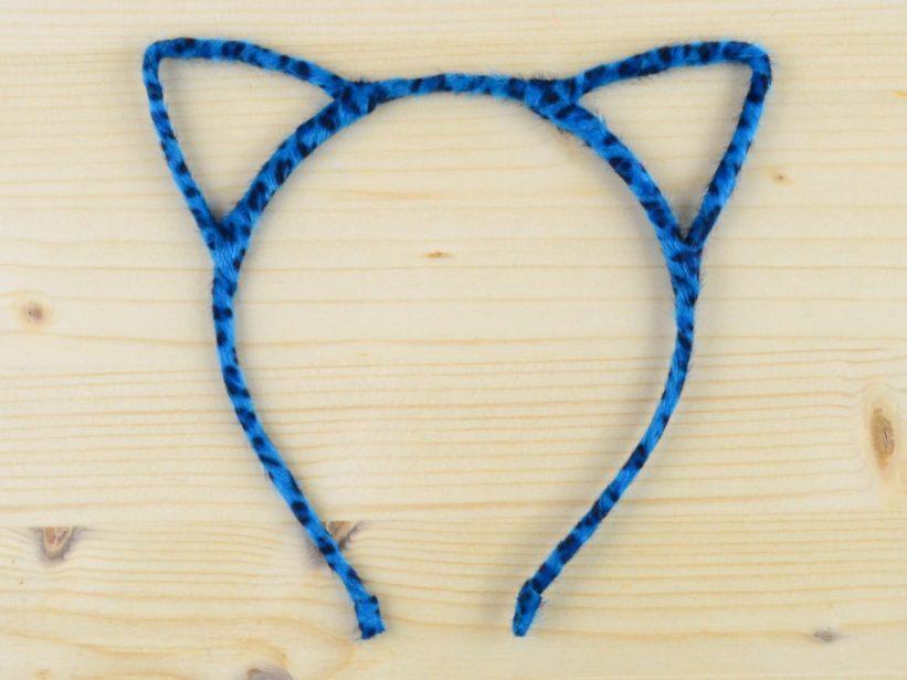 Bentita Urechi de Pisica Animal Print Albastru Puf
