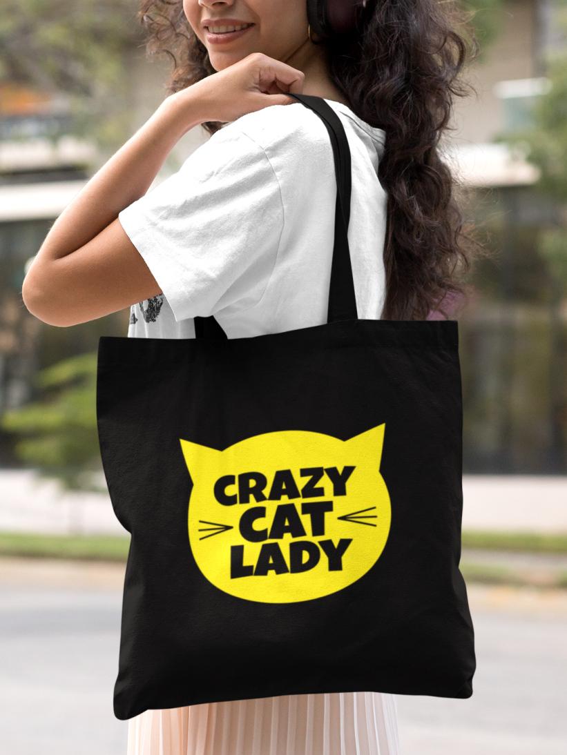 Sacosa Neagra Bumbac Crazy Cat Lady