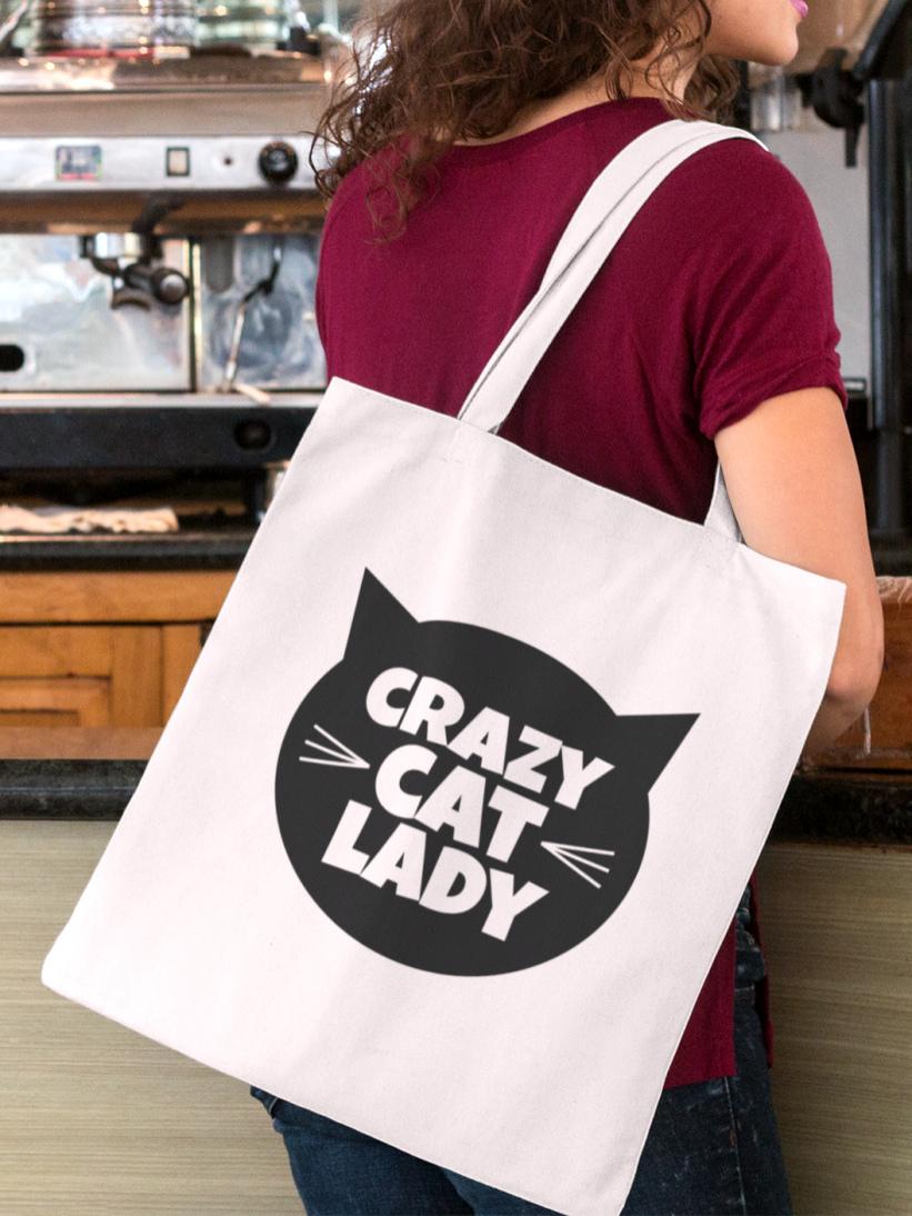 Sacosa Bumbac Bej Crazy Cat Lady