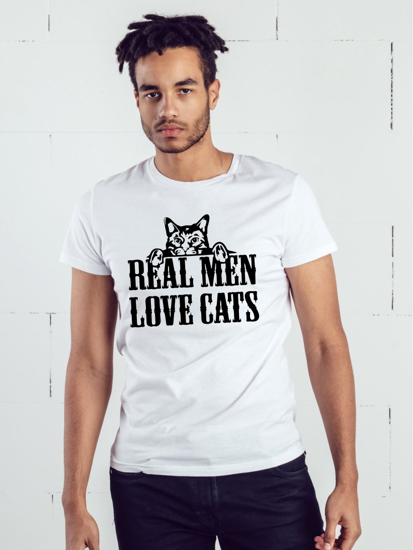 Tricou Barbati Alb Real Men Love Cats