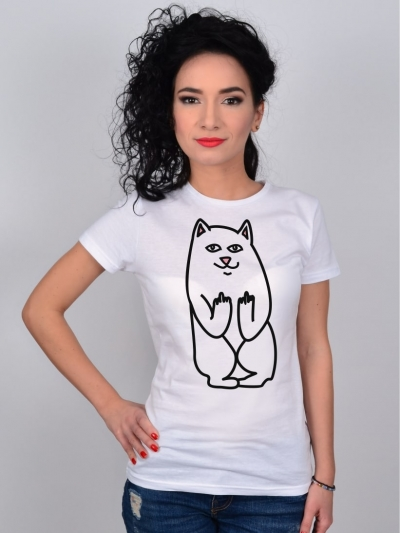 TRICOU ALB CAT MIDDLE FINGER