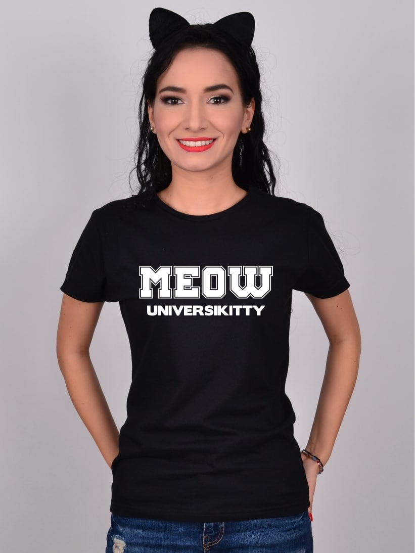 Tricou Negru MEOW Universikitty