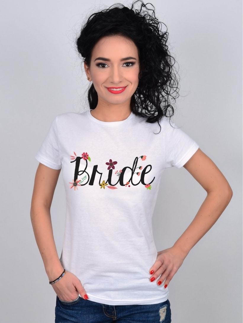 Tricou Petrecerea Burlacitelor Bride Flowers
