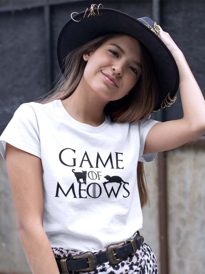 Tricou Alb Pisici Game of Meows
