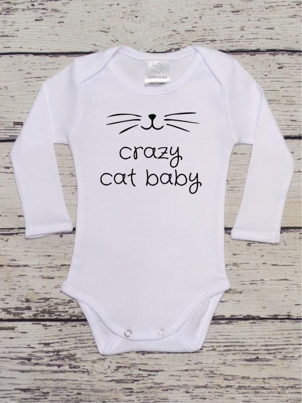 Body Copii cu Mesaj Crazy Cat Baby