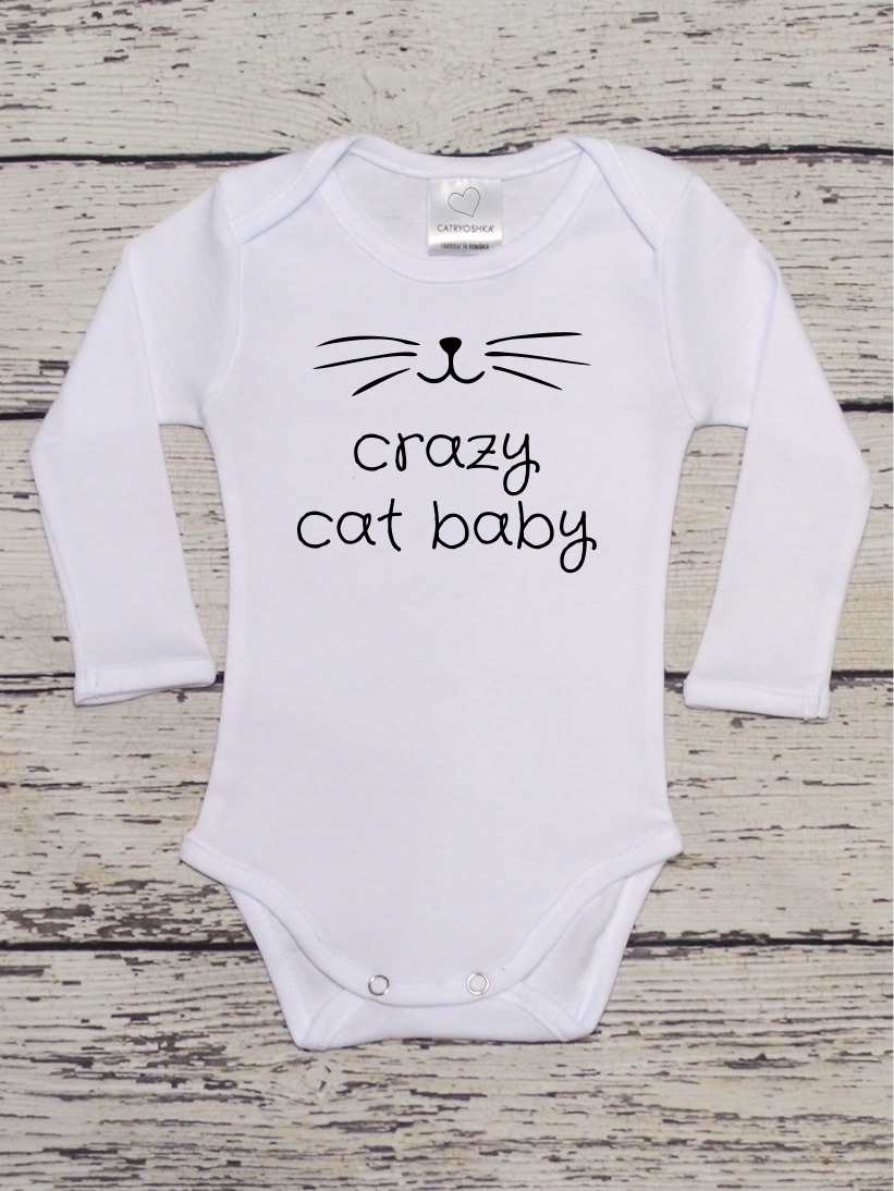 Body Copii cu Mesaj Crazy Cat Baby