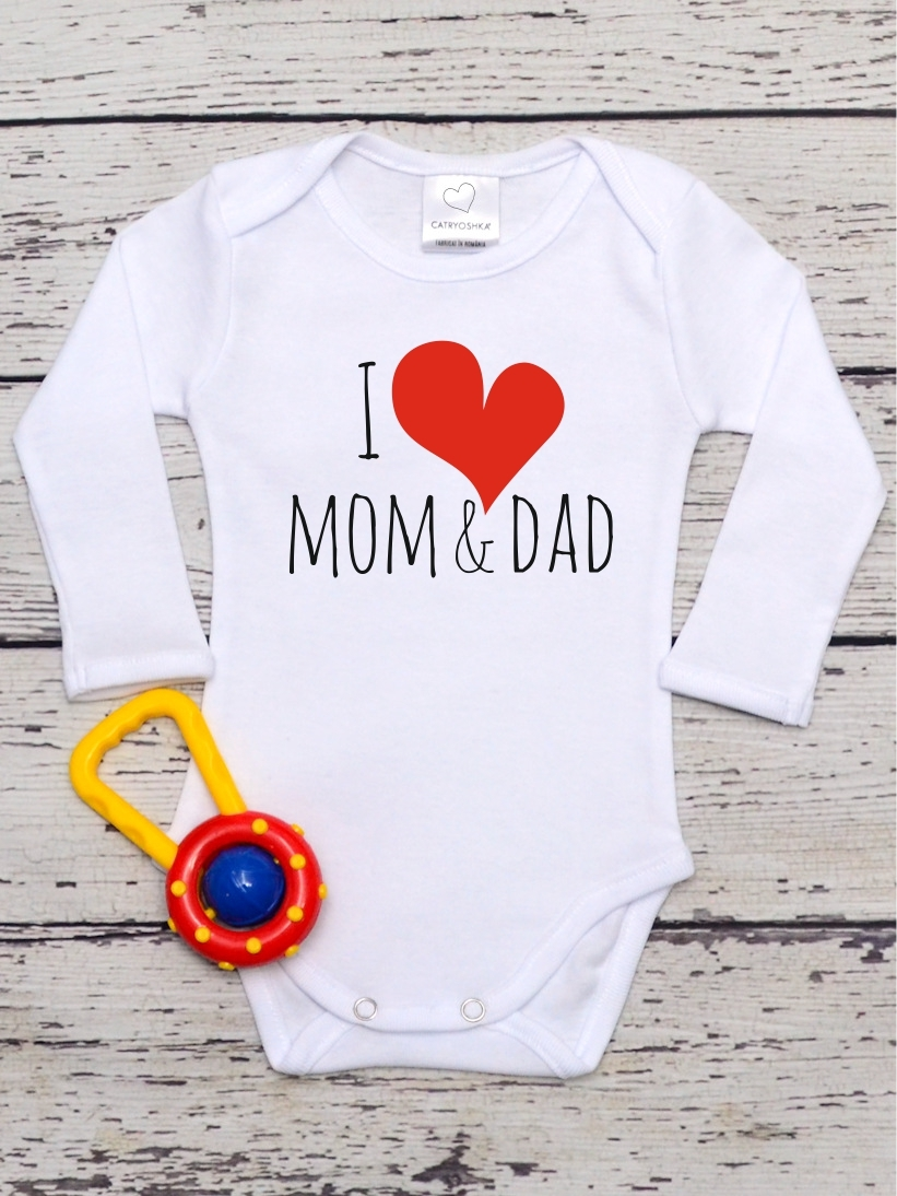 Body Copii cu Mesaj I Love Mom & Dad