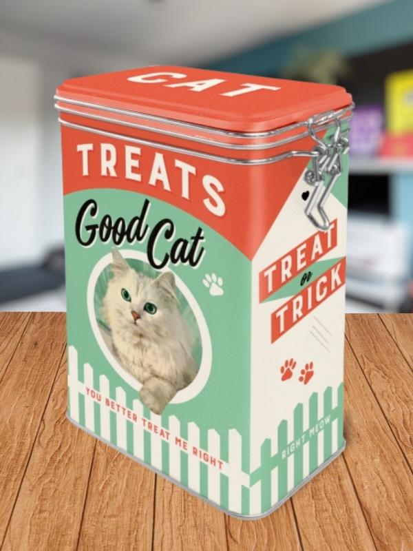 Cutie Metalica Etansa cu Pisici Treats Good Cat