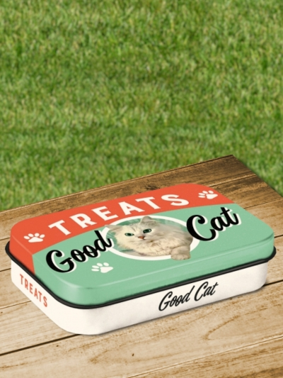 Cutie Metalica de Buzunar cu Pisici Treats Good Cat