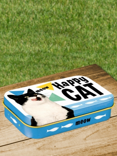 Cutie Metalica de Buzunar cu Pisici Happy Cat