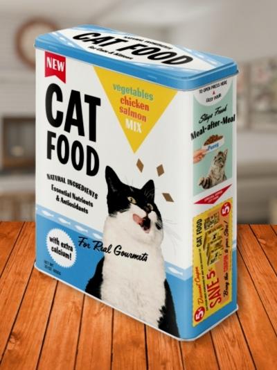 Cutie Metalica Mare cu Pisici Cat Food