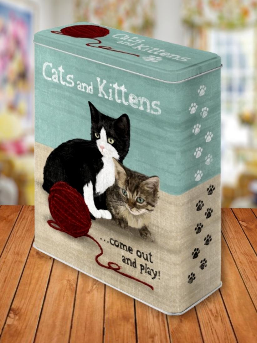 Cutie Metalica Mare cu Pisici Cats and Kittens