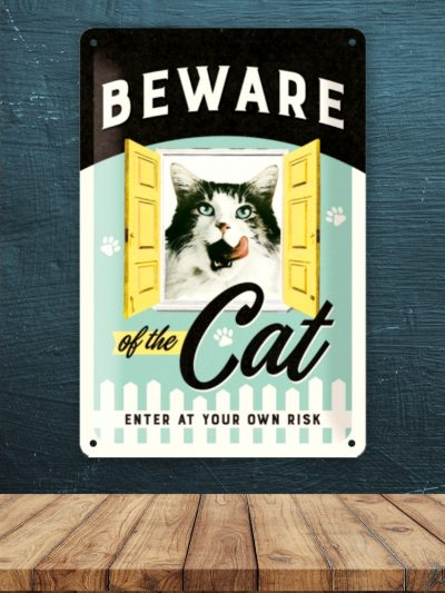 Placa Metalica Mare cu Pisici Beware of the Cat