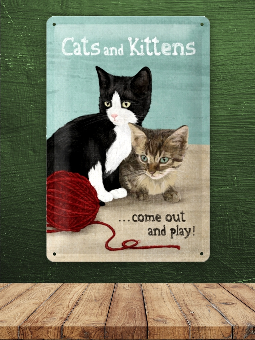 Placa Metalica Mare cu Pisici Cats and Kittens