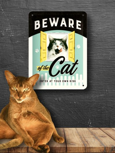Placa Metalica Medie cu Pisici Beware of the Cat