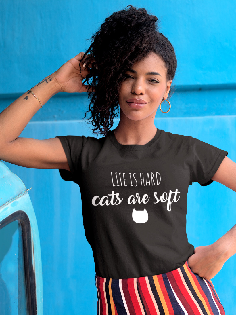 Tricou Negru Life is Hard, Cats Are Soft
