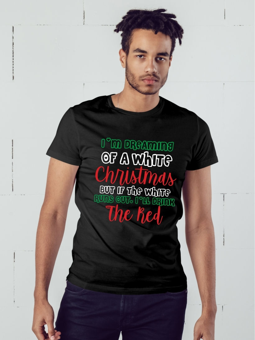 Tricou Barbati Mesaj de Craciun White Christmas