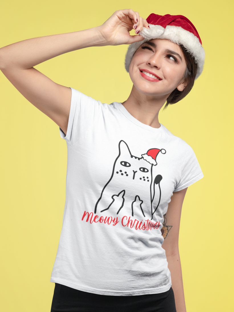 Tricou Cu Pisici De Craciun Meowy Christmas