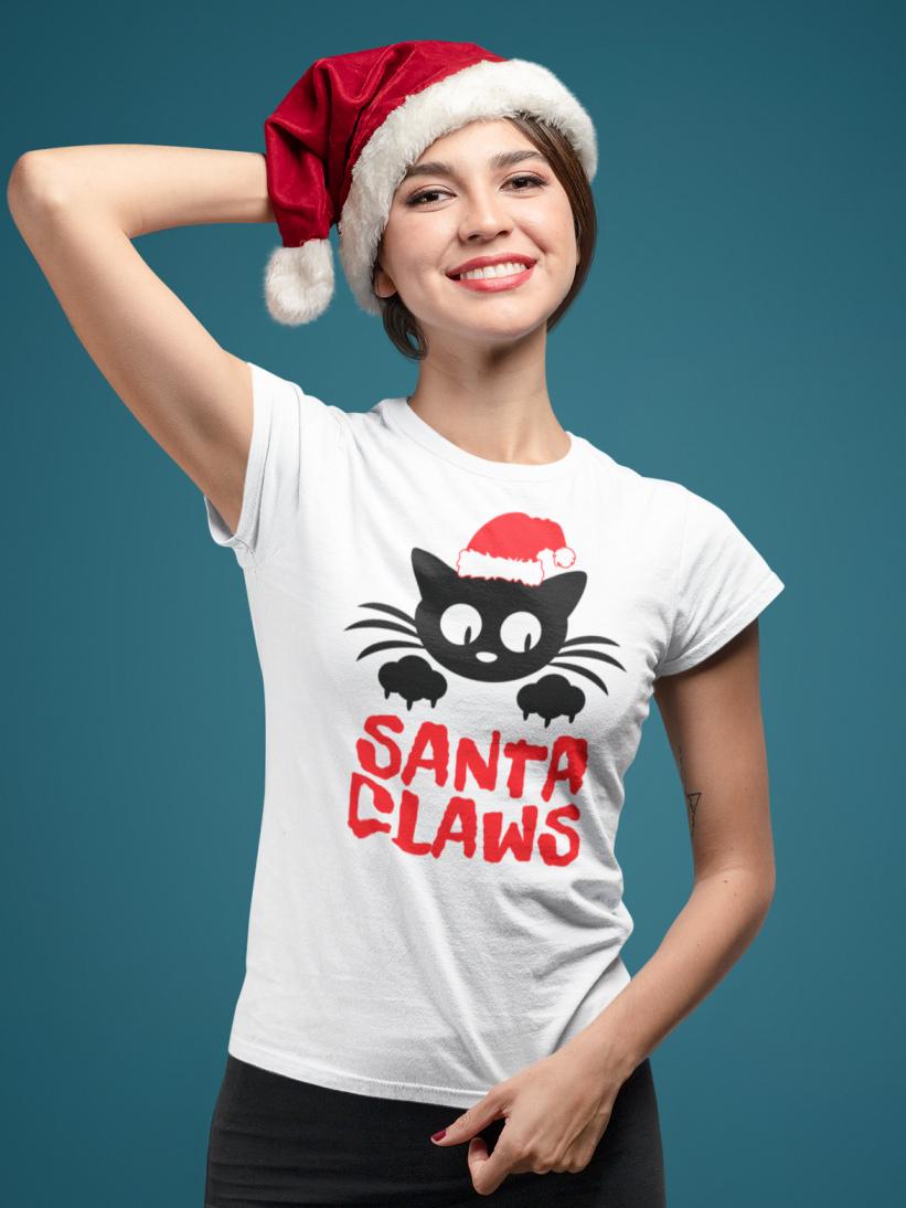 Tricou Cu Pisici De Craciun Santa Claws